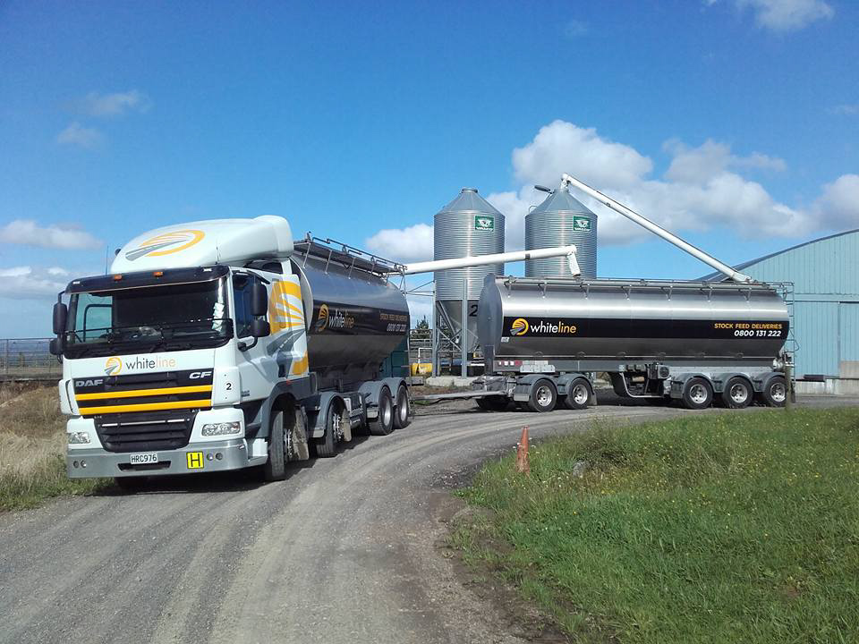 Whiteline Transport truck delivers stock feed