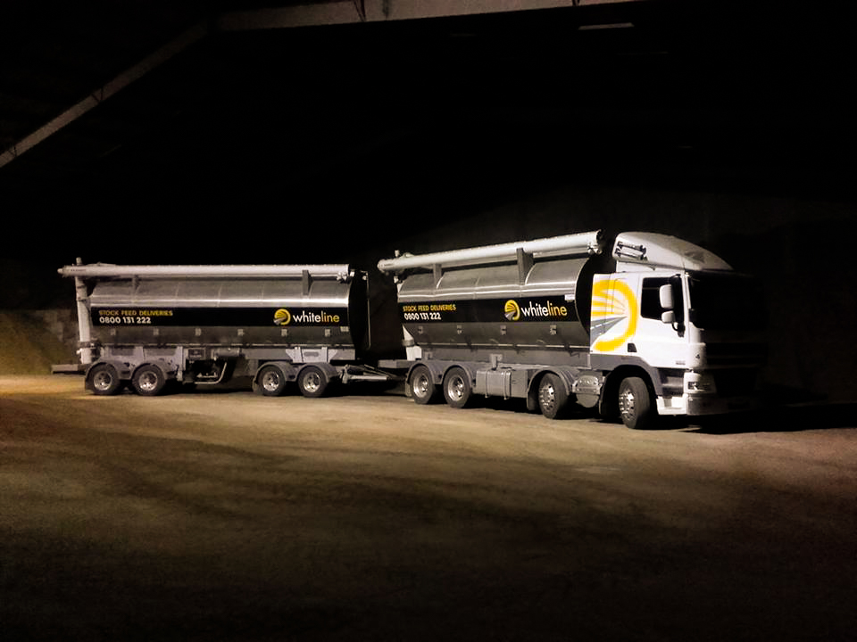 Whiteline truck at night